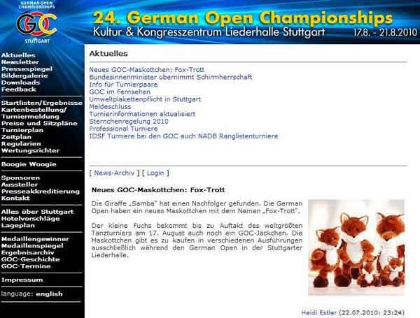 """Deutsche GOC Seite """"Start""""; screenshot -se-"""