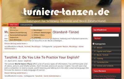 """turniere-tanzen.de 2010 - noch """"zweispaltig"""""""