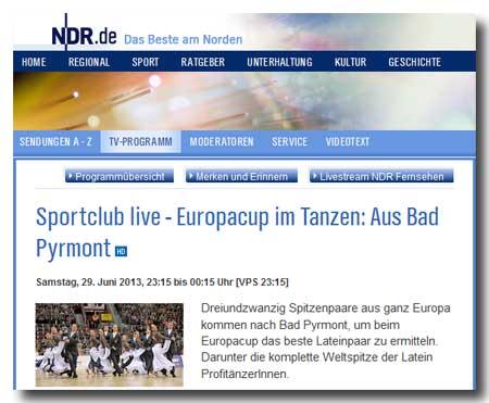 Tanzsport im Fernsehen - WDSF Europacup 2013